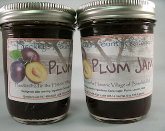 Two Jars Homemade Plum jam jelly fruit spread  handmade fruit preserves