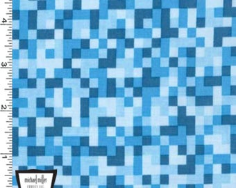 Bitmap Fabric - Blue - By Michael Miller Fabrics (Sold by the half yard)