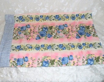Shabby Floral Pillowcase-Standard Size-Two Sided Pillow Case-Dusty Blue Roses-Pink-Ivory-Ticking-Flowers-Country-Orphaned Treasure-T032018C