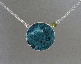 Chinese Turquoise and Peridot Pendant in Sterling Silver, Large Turquoise Neckpiece, Statement Pendant