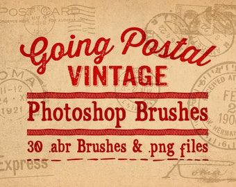 Postal Mail Photoshop Brushes Clipart - 30 Vintage Ephemera Going Postal Digital Stamps Clip Art - .abr brushes