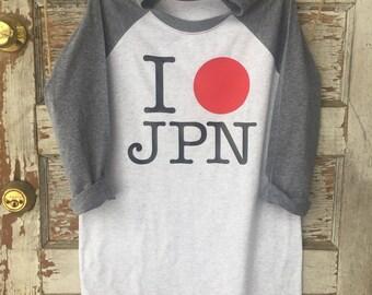 I LOVE JAPAN raglan, jpn, japanese, i love japan shirt