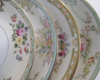Vintage Mismatched China Saucers for Tea Party, Wedding Plates, Cake Plates, Showers, Cottage Chic - Set of 4