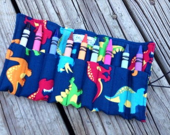 Crayon Roll - crayon holder comes with 10 crayons and is available in over 100 fabrics