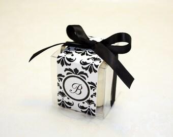 Damask Macaron Favor Boxes, Black and White Favor Boxes - Set of 24 Favor Boxes