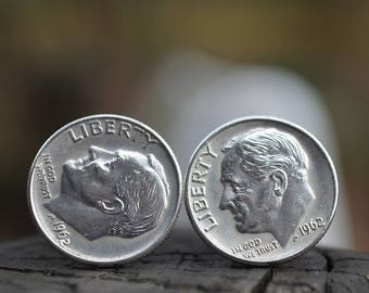 Cufflinks.....Roosevelt Silver dime cufflinks crafted from authentic .90 silver 1962 Roosevelt dimes for the Patriot in your life