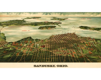 Map of Sandusky Ohio, Antique Map; Pictorial or Birdseye Map, 1898