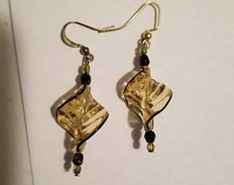 Gold and Black Spiral Glass Dangle Earrings