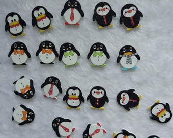 "30 PC Painted wood buttons 24mm - Wooden Buttons ,tree buttons, natural wood buttons ""penguin"" A033"