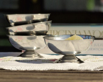 Ice cream dishes, metal ice cream bowls, french vintage ice cream cups stainless steel dessert pudding dishes mid century french country