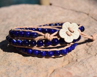 Deep Blue Triple Wrap Bracelet