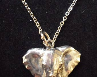 "Elephant W6 Pewter On a 16"" 18"" 20"" 24"" inch Silver Plated Curb Chain Necklace"