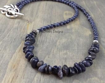 Genuine Natural Sapphire Crescent Necklace (September Birthstone)