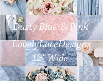 "Dusty BLue/Blush Pink/ Lace Table Runner/3ft-11ft long x 12""wide/Wedding Decor/Weddings/Beach weddings"