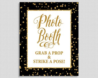 Photo Booth Sign, Black & Gold Glitter Confetti Shower Sign, Wedding, Baby Shower Sign,  INSTANT PRINTABLE
