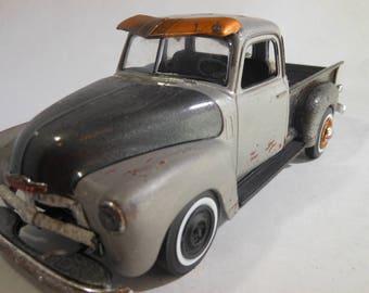 ScaleModel,ChevyPickup,1955Chevy,ModelHobby,OOAK,GreyTruck,JunkerModel