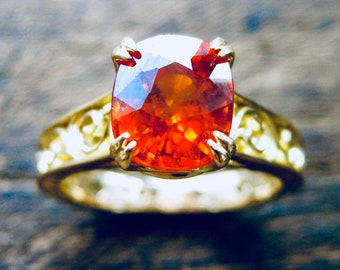 Mandarin Orange Spessartite Garnet Engagement Ring in 18K Yellow Gold with Double Claw Prongs and Scrolls on Shank & Basket Size 6