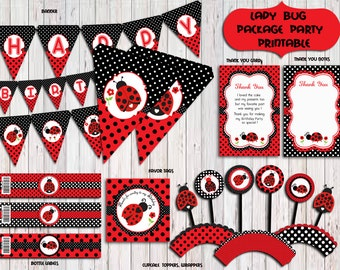 Ladybug Party Package,Ladybug Birthday Party,Ladybug Party Supplies,Banner,sign  PRINTABLE DIY Instant Download