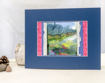 Abstract lake watercolor, original landscape painting, original art, nature watercolor, pink and blue landscape, Wisconsin art