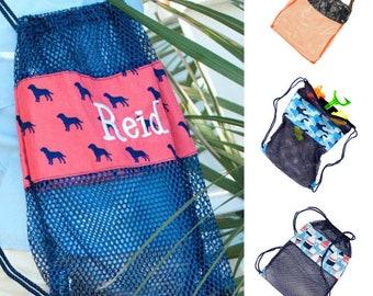 Personalized Boys Mesh Drawstring Backpack, Mesh Shell Bags for Boys, Personalized Pool Toy Bag, Monogrammed Drawstring Cinch Gym Sports Bag