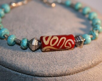 INDIAN SAHARA Ceramic, Turquoise, and Sterling Bracelet