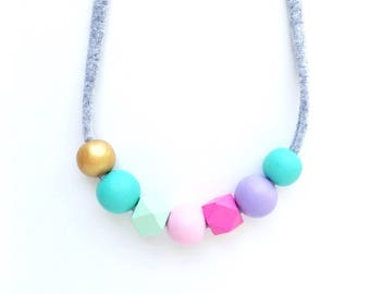 THE EMILY handpainted wooden bead necklace, girls necklace, women's necklace, kids necklace, fabric string, mint, pink, gold - PETITE size