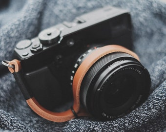 Black on Tan Leather camera strap, Leather Camera Wrist Strap, camera strap, leather wrist strap, tan camera strap, thin wrist strap