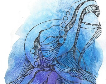 "Octopus Painting - Cast Offtopus  - Fine Art Giclee Print 10/50 of 4""x6"" Blue and Purple Watercolor Painting"