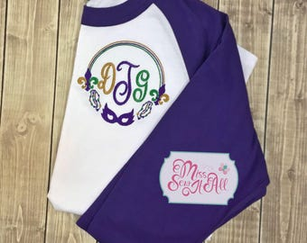 Womans Mardi Gras Shirt, Womans Mardi Gras Raglan, Womans Monogrammed Mardi Gras Shirt