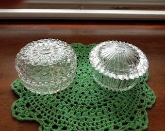 Vintage crystal bowls with lids 2 pc set candy buffet bowls vanity decor gift idea