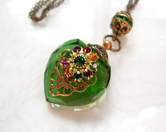 Vintage Inspired Emerald Green Crystal Heart Perfume Bottle Necklace