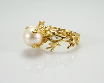 White Pearl Ring, Gold Pearl Ring, White Pearl Engagement Ring, Gold Engagement Ring, Anniversary Ring, Engagement Ring, Coral Ring