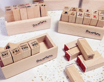 1 Case Diary Stamp Set - Wooden Rubber Stamp Set - 4 styles can choose