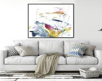 Printable Abstract Art, Pink and Blue Decor, instant download art, Large Abstract Art, Large Landscape Art, 30x40 Print, living room art