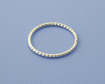 Thin and Dainty Argentium Silver Rope Stacking ring (18 gauge)