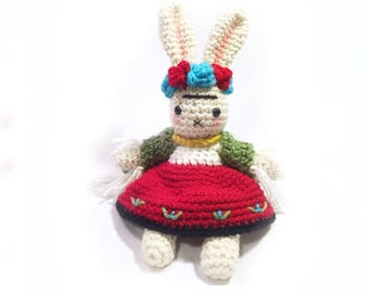 Frida Kahlo Inspired Bunny  - Crochet Doll - Nursery Decor - Gift - Amigurumi Art - Crochet Rabbit - MADE TO ORDER
