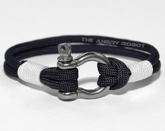 Nautical Paracord Bracelet with Shackle - Slate and White
