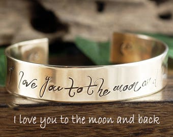 I love you to the Moon and Back Cuff Bracelet, Wide Cuff Bracelet, Custom Cuff Bracelet, Gift for Mom, Jewelry for Mom,Moon and Back Jewelry