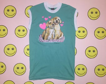 New Vintage 1989 DOGS WITH HEARTS Tank clothing men's