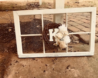 Rustic window frame with chicken wire
