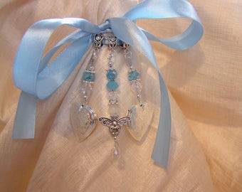 Angel Double locket Bouquet Memory Charm - Something Blue- Free P&P