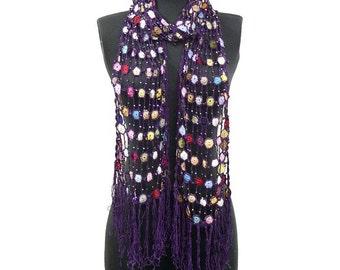 Beaded Hand Crochet Multicolor Oblong Scarf