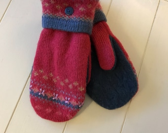 Sweater mittens/Soft and warm handmade wool sweater mittens -felted wool -upcycled - handmade from recycled wool sweaters