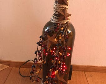 Rustic deco wine bottle with lights