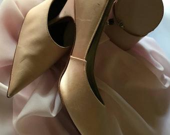Vintage 1960's Pale Pink Satin & Leather Stilettos Size 6.5