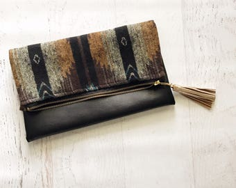Tribal Print  & Black Faux Leather Foldover Clutch - Gift for her, Birthday, Anniversary, Bridesmaid