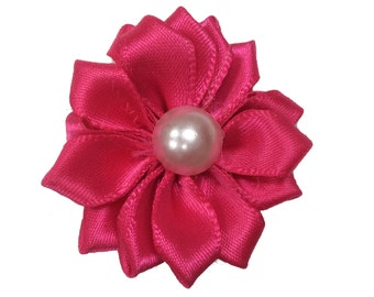 1.5 inch Satin Pearl Flower, Wholesale Crafting Flowers for Baby Girl Head Bands, Lot of 1, 2, 5 or 10, Hot Pink