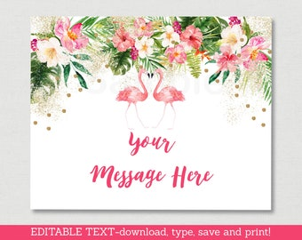 Tropical Flamingo Bridal Shower Welcome Sign / Floral Bridal Shower / Flamingo Bridal Shower / Instant Download Editable PDF B128