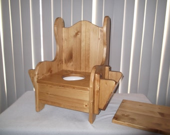 Wooden Potty Chair w/ TP holder and book rack