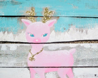 Retro Pink Glittered Reindeer Barn wood Sign Holiday Christmas Vintage